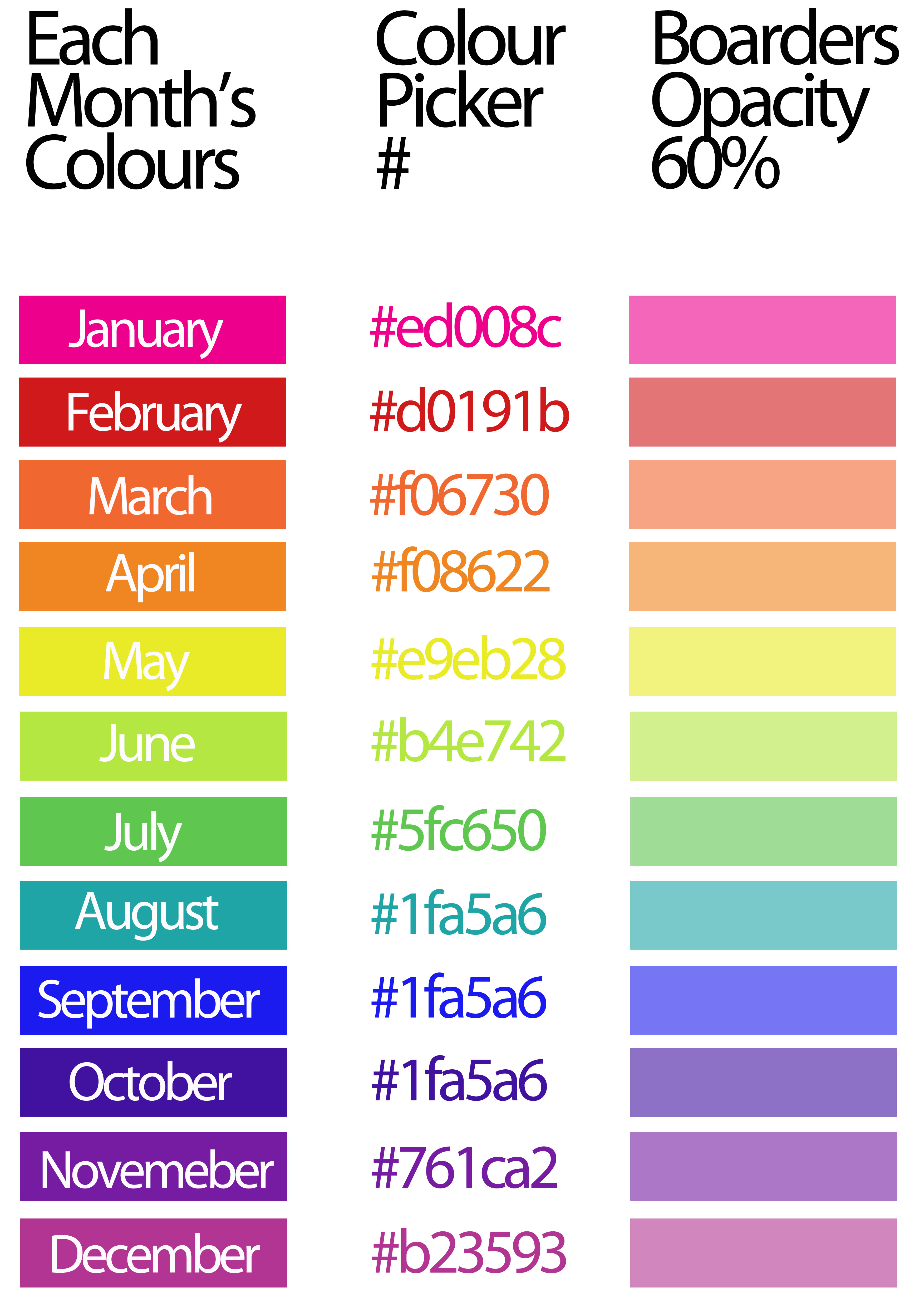 Diary Colours Through Out The Months