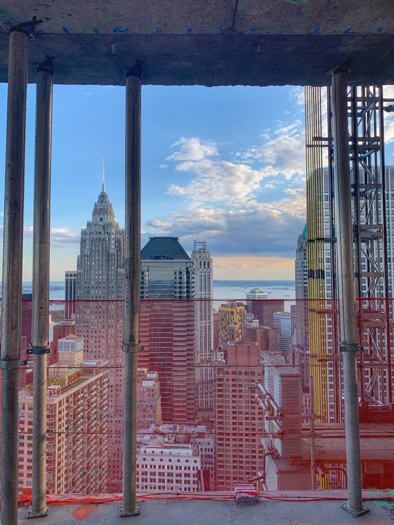 View of lower Manhattan from an under construction building to illustrate the NYC real estate market