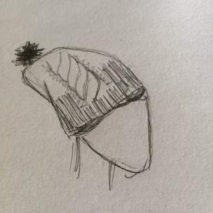 Sketch of hat with unrolled brim.