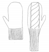 Sketch of mittens with cuff variations.