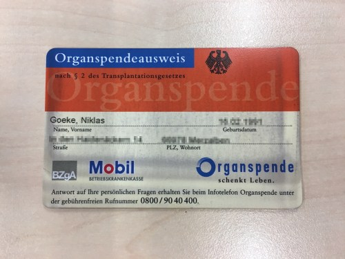 Pocket Miracles Organ Donor Card