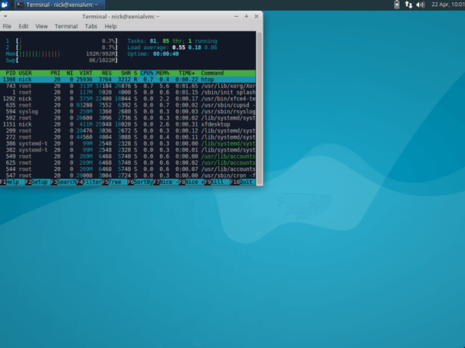 Notice the lower RAM usage of the Minimal installation. First boot as well.
