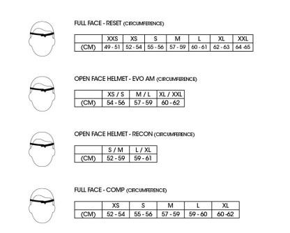 661 Size Chart Helmets