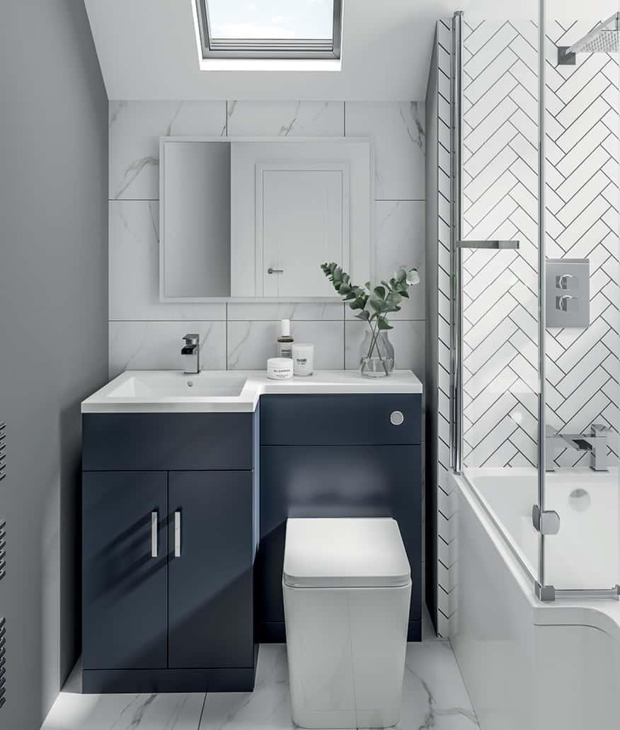 combination l 1000mm vanity unit indigo basin indigo
