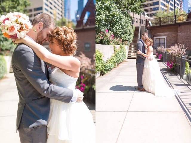 Bride and Groom on the Riverwalk