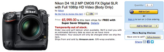 Nikon D4 pre order amazon Nikon D4, Nikkor 85mm f/1.8G lens now available for pre order