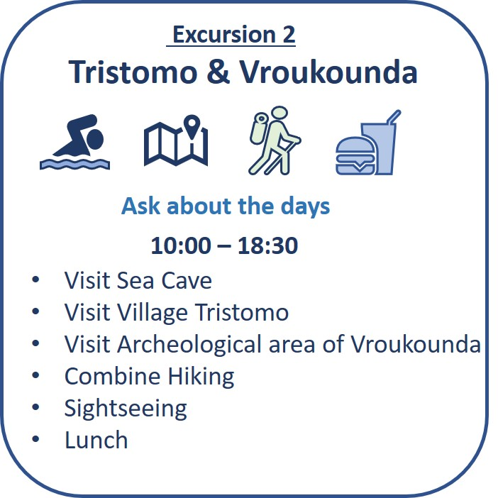 """Excursion 2: Tristomo & Vroukounda Sea cave visit, sea channel """"steno"""" , cave church, Hikings paths, sightseeing, lunch"""