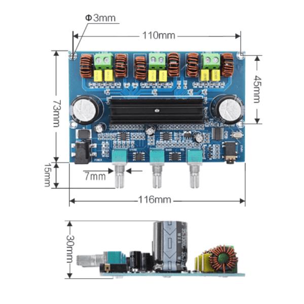 2.1 channel 100W+50Wx2 Bluetooth 5.0 power amplifier board (Class D) XH-A305