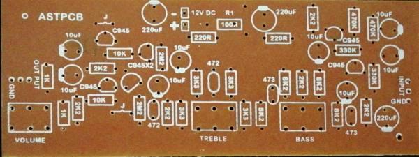 Transistor Pre Amplifier PCB (12VDC)