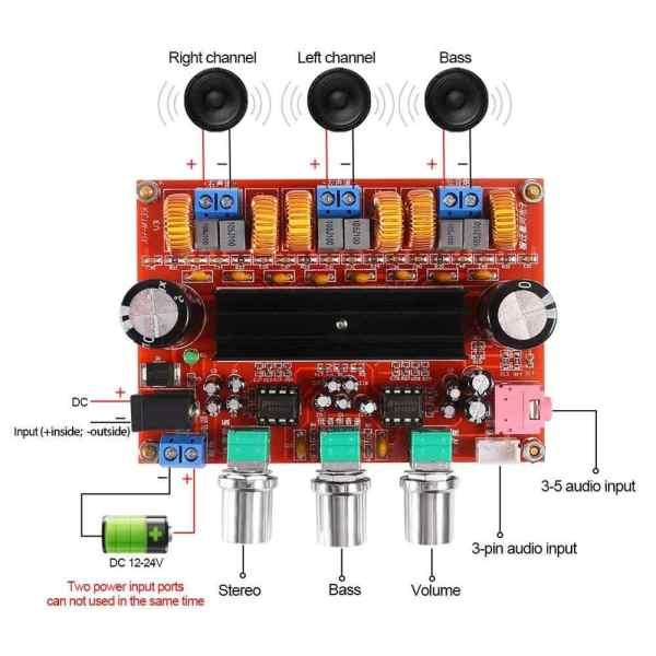 TPA3116D2 2x50W + 100W 2.1 Digital Class D Subwoofer Amplifier Board DC12V-24V (XH-M139)