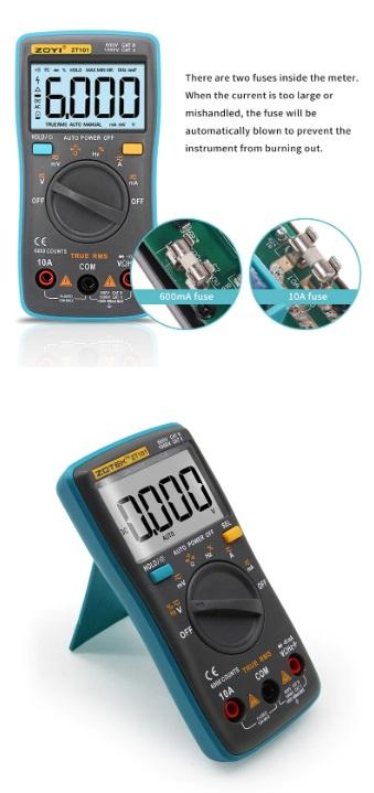 ZOYI ZT101 Mini Digital Multimeter 6000 Counts AC/DC Ammeter Voltmeter