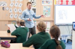 Nil By Mouth Education Officer, Jamie Lithgow, presents a workshop to pupils in Glasgow