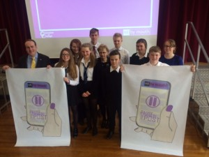Mr Wheelhouse with pupils who took part in the event, Selkirk HS Rector Wilma Burgon and Modern Studies Teacher Ms Jenna Swan.