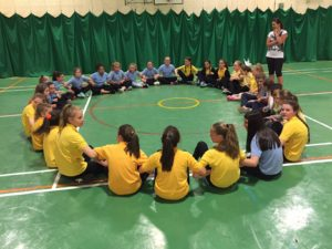 Pupils took part in the arms linking challenge