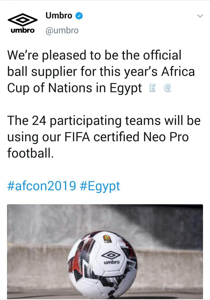 d7884077c7a The organisers of Total Africa Cup of Nations 2019 'CAF' have signed a  partnership with UMBRO, a sportswear and football equipment brand to supply  balls for ...