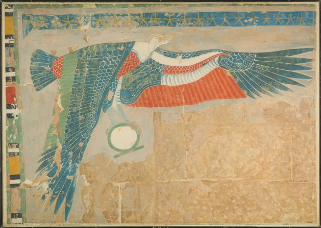 The goddess Nekhbet in vulture form holding a shen-ring (Photo: MMA)