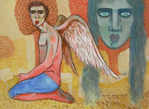 Title: 'Angel' | Size: A3 | Medium: Gosh on Paper