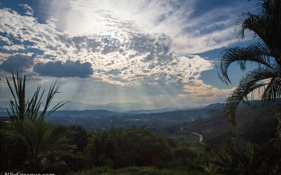 Photo: Vista with hills, sun behind clouds and palm fronds, Tarapoto, Peru