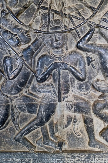 Detail of bas relief carvings at Angkor Wat