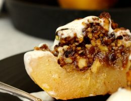 Honungsrostad kvitten med valnötter (utan vitt socker)