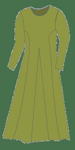Dress with side pieces and midt gussets. Kjole med sidestykker og midtkiler.