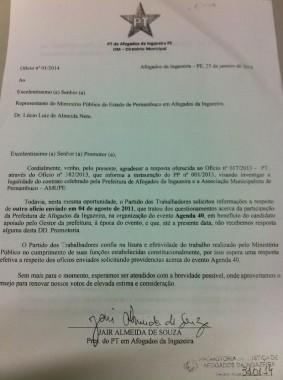 Um dos documentos encaminhados ao MP. PT quer agilidade para ofícios que cobram do Executivo