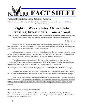 Right to Work States Attract Job-Creating Investments From Abroad