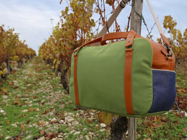 Nils & Emi sac baroudeur chic vert sac cabine made in france
