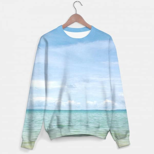 Sweater with turquoise and light blue heaven and sea by Nils Mango