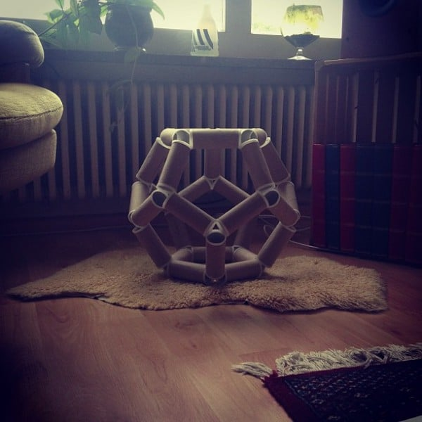 Dodecahedron (toilet paper rolls and PLA)