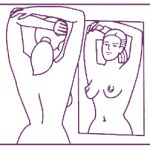 Breast exam in front of a mirror