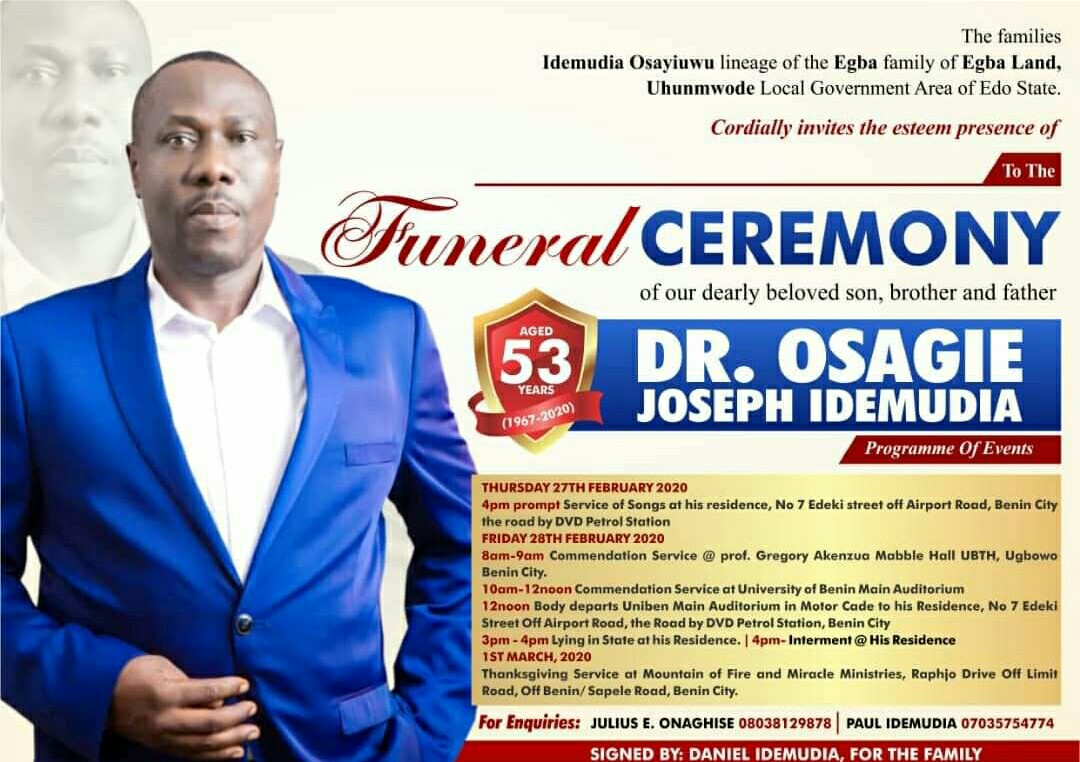 Dr Idemudia: UBTH thrown into mourning as popular consultant dies of blood cancer - Nigerian Health Blog