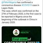 Coronavirus diagnosed on Lagos
