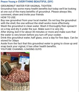 Does groundnut water tighten the Vagina?