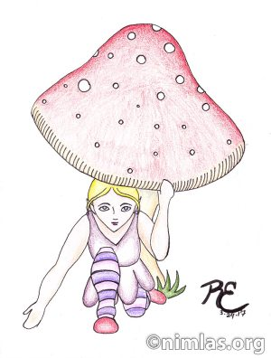 Daily Creativity: A Fairy Peeking out from her Mushroom