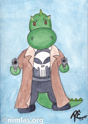Daily Creativity: Rory as The Punisher, The PunishRAWR!
