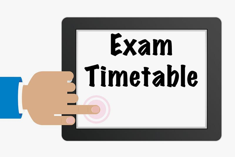 December 2019 Diet Professional Examination Timetable