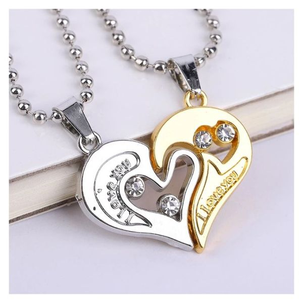 1 Pair Couple Pendant I Love You Heart Unisex Lovers Necklace Chain1