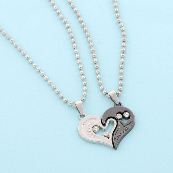 1 Pair Couple Pendant I Love You Heart Unisex Lovers Necklace Chain 3