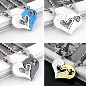 1 Pair Couple Pendant I Love You Heart Unisex Lovers Necklace Chain