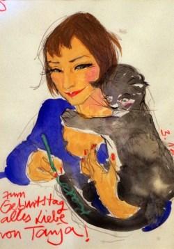 Ninas Porträt mit Katze von der Künstlerin Tanja Székessy