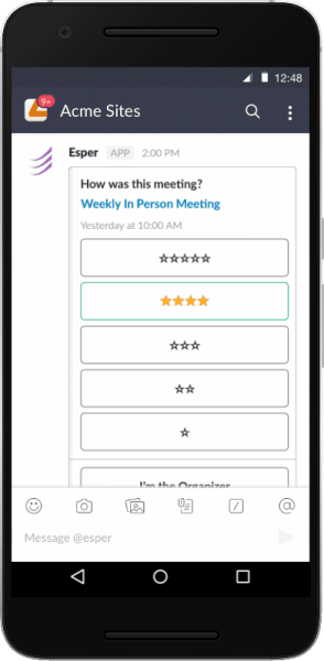 Esper Ratings a way to provide meeting feedback via Slack