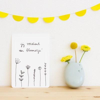 ninamaakt kaart 'Jij verdient een bloemetje!'