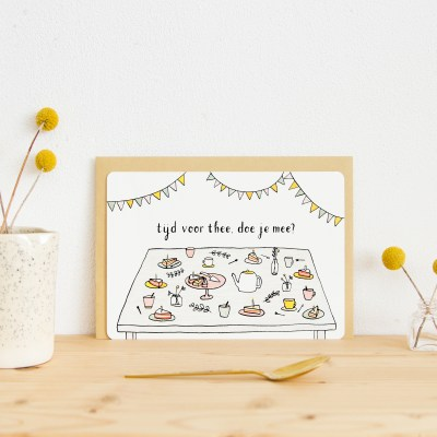 ninamaakt kaart miniposter - tijd voor thee