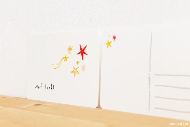 ninamaakt postcard 'leef licht'