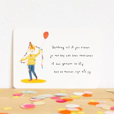 ninamaakt kaart 'vandaag wil ik jou vieren'