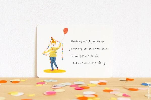 ninamaakt postcard 'vandaag wil ik jou vieren'