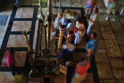 The Stone of Anointing (where Jesus' body was prepared for burial)