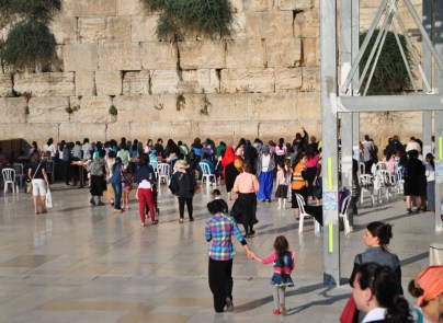 women's side of the Western Wall (what you can't tell is that they're walking backwards away from the wall)