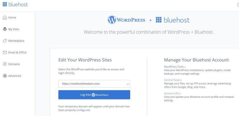 Bluehost Login - Log into WordPress